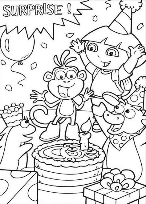 dora and buji coloring page boots is jarig dora
