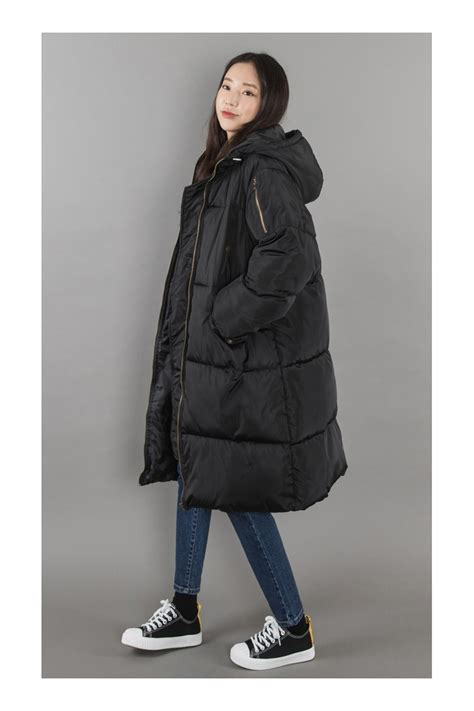 black hooded long puffers coats womens winter wear clothes