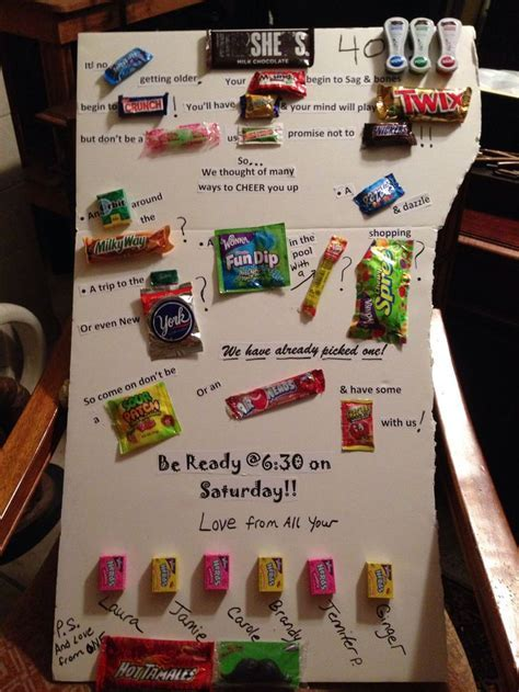 Candy bar sayings Friends 40th birthday   crafts