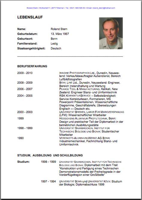 Lebenslauf Englisch Deutsches Unternehmen Lebenslauf