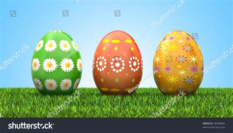 beautiful easter eggs beautiful easter eggs on grass clipping stock illustration