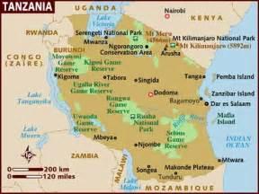 Tanzania Africa Map by Tanzania 1africa Safaris