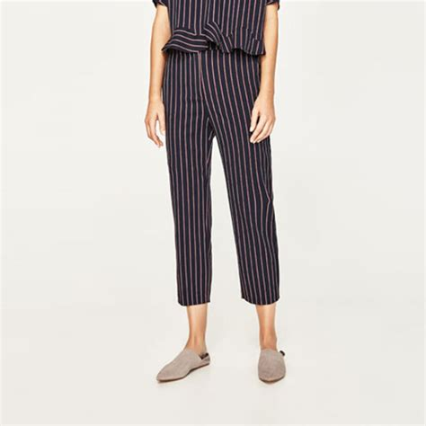 Zara Trf Black Celana Panjang Hitam jual zara striped trousers black m fashion market