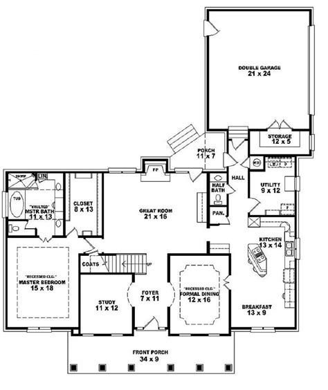 One And A Half Story Floor Plans | 654280 one and a half story 4 bedroom 3 5 bath