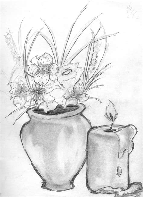 Drawings Of Flowers In A Vase by Vase With Flowers By Darkgx On Deviantart