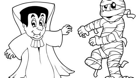 imagenes momias halloween dibujo de halloween con personajes para colorear