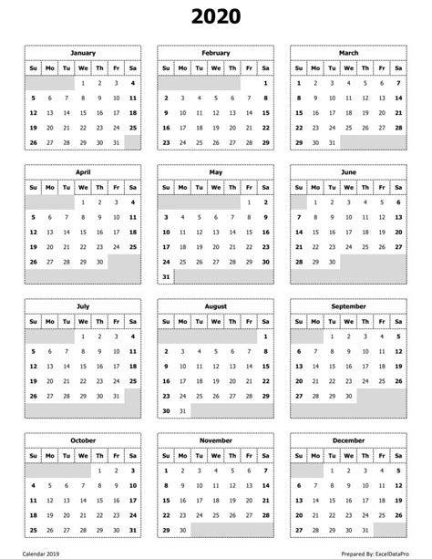 monthly calendar sun start ink saver excel template exceldatapro