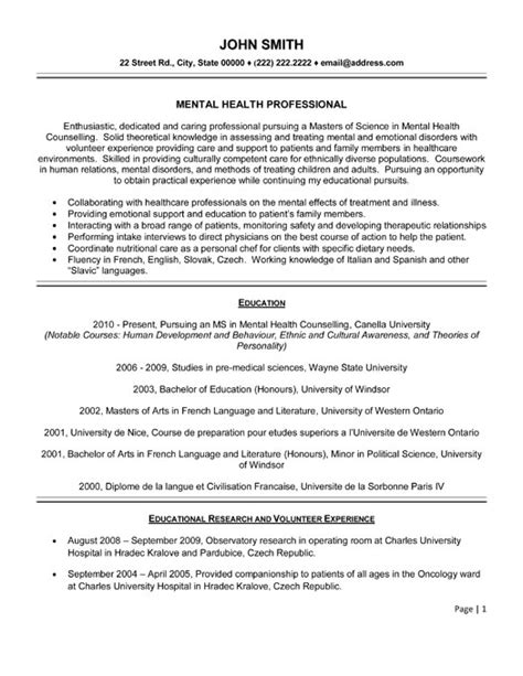 Resume Template For Healthcare Professionals Sle Objective Resume Mental Health Care Field