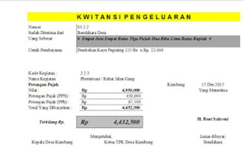 format buku kas umum add format laporan buku kas umum bku dan kwitansi dana desa