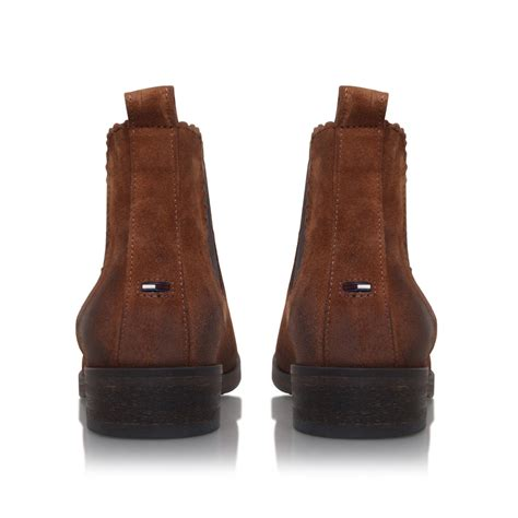 hilfiger avive 10b low heel ankle boots in brown