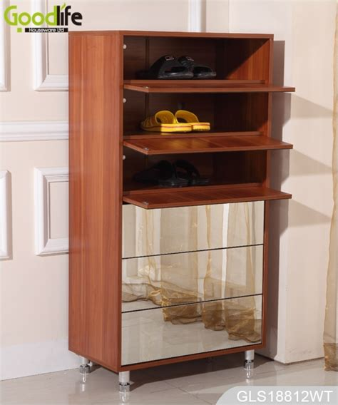 wooden mirrored shoe storage cabinet for shoes organizing