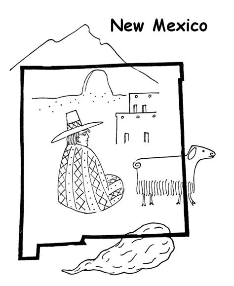 new mexico state flag coloring page coloring pages