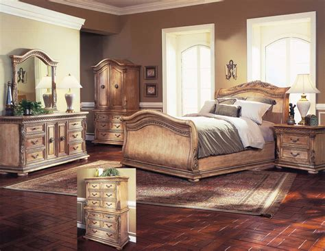 bedroom sets traditional style leather sleigh bed and traditional furniture for