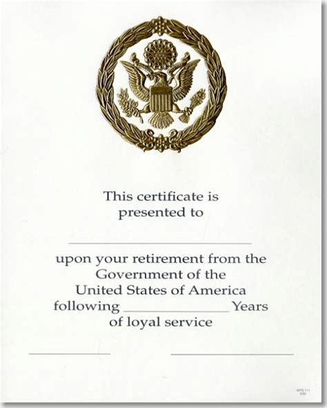 service career opm federal career service award certificate wps 111 retirement gold 8x10 u s