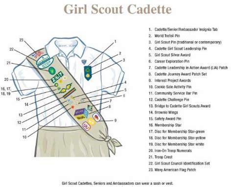 scout junior sash diagram cadette program scout troop 1482 san