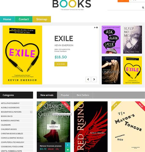 100 free book store ecommerce template booklovers