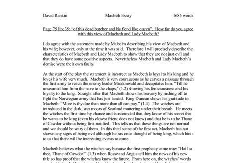 Essay Questions For Macbeth by Possible Essay Questions Macbeth