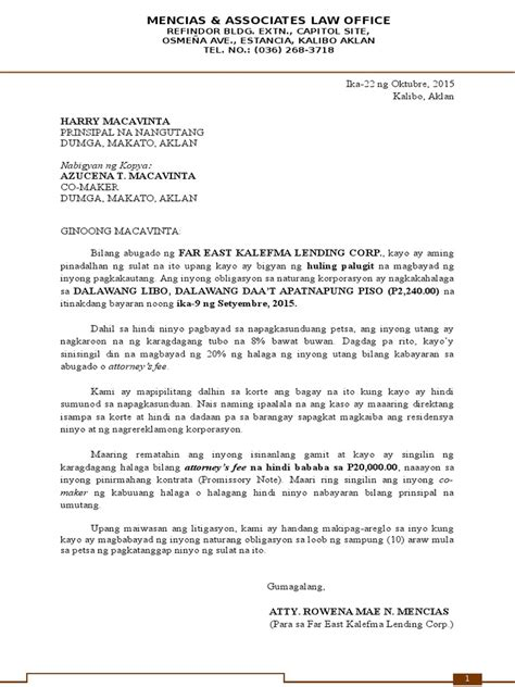 Letter Of Agreement Tagalog demand letter sle philippines docoments ojazlink