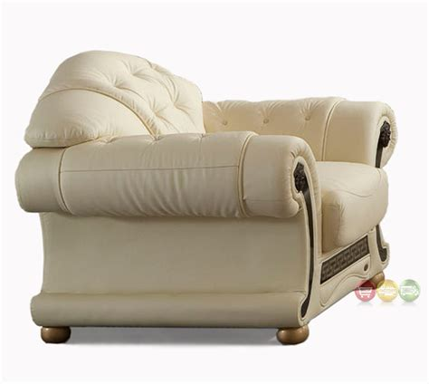 versace chair versace ivory genuine italian leather button tufted arm chair