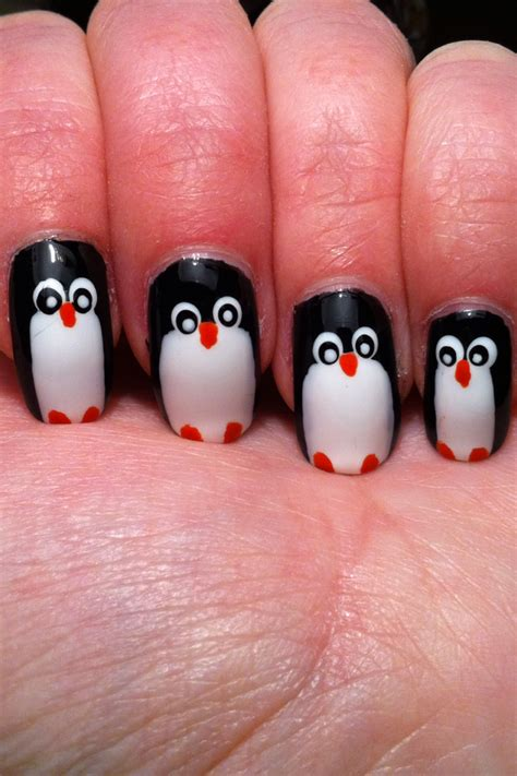 Penguin Nail miss nailpolish penguin nails for nailart sunday