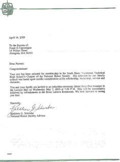 national junior honor society letter recommendation