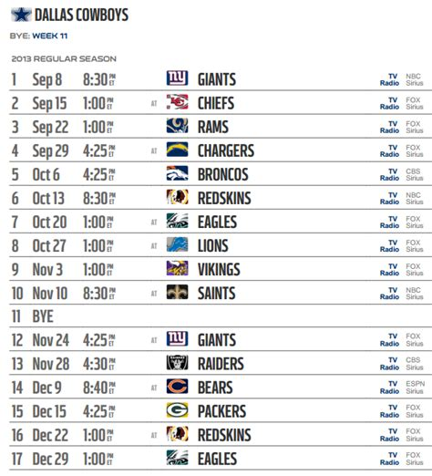 printable nfl tv schedule 2015 nfl dallas cowboys schedules