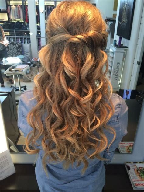 prom hairstyles big curls half up half down wedding hair with big curls we this