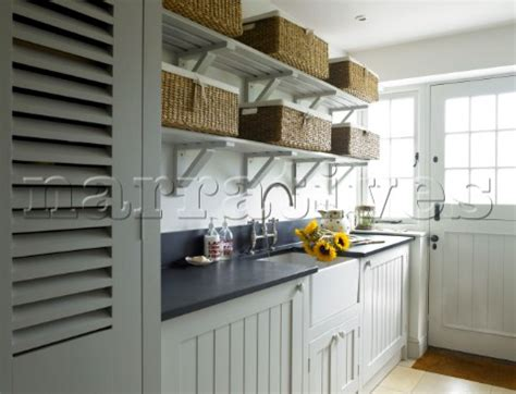 Open Kitchen Shelves With Baskets Dp022 14 Storage Baskets On Open Shelving Above Kitch