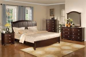 Brown Bedroom Set Brown Transitional Bedroom Set W Faux Leather Headboard