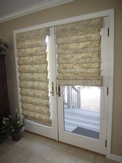 hobbled roman shades  french doors traditional
