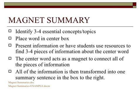 magnet summary template content area reading strategies