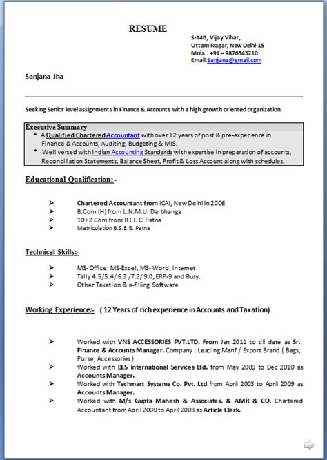 mis executive resume format resume format for mis executive resume template sle