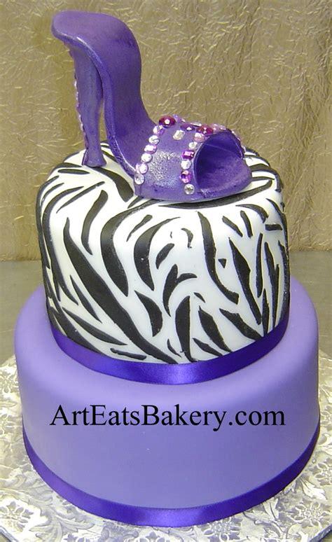 zebra pattern cake ideas two tier black white and purple custom birthday cake with