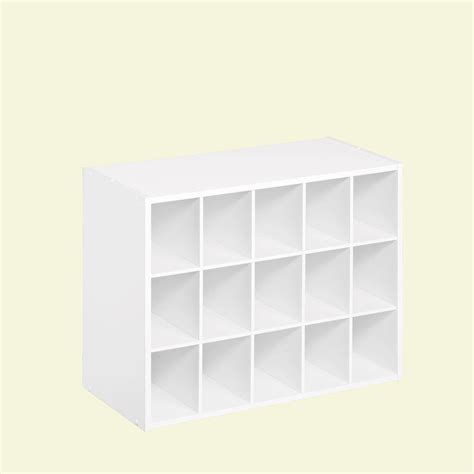 shoe storage cubes closetmaid 24 in w x 19 in h white laminate 15 cube