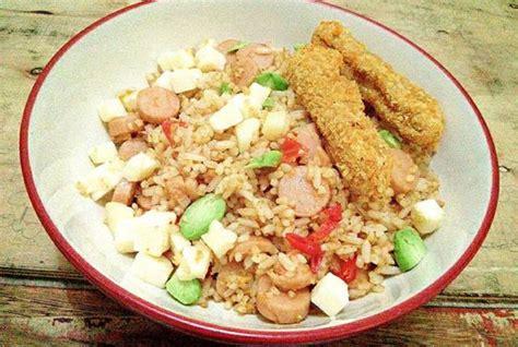 membuat nasi goreng keju nasi goreng spesial keju pete sosis chicken nugget