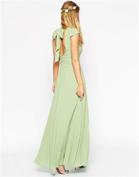 asos wedding maxi dress with pleated skirt and sweetheart