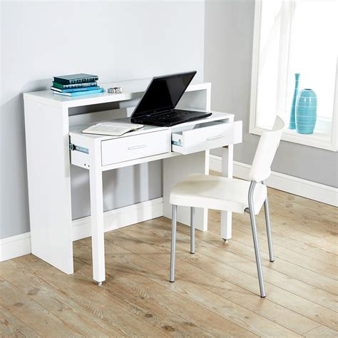 Console Table Computer Desk Regis Extending Console Table Study Computer Desk 2 Drawers Retractable Shelf Ebay