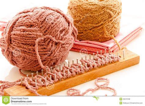 yarn for loom knitting yarn balls with loom knitting stock photo image 25670168