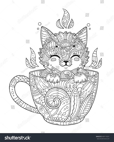 cats coloring book grayscale stress relief calming and relaxing coloring book portable books kitten cup antistress coloring page stock vector