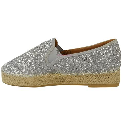 espadrilles shoes womens flat espadrilles low wedge slip on glitter