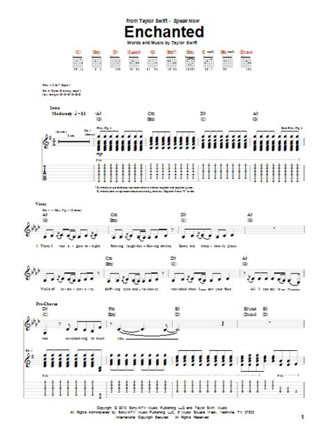 lyrics of enchanted by taylor swift with chords enchanted sheet music taylor swift guitar tab