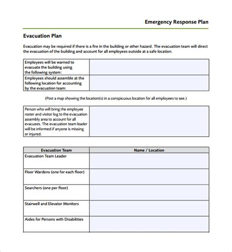 Response Plan Template sle emergency response plan template 9 free