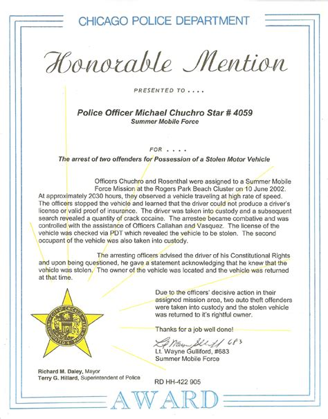 Award Justification Letter Certificate Letter Awards Chicagocop