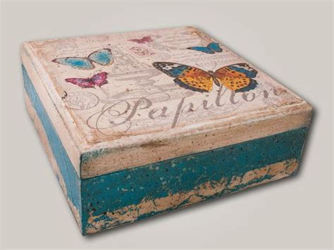 Decoupage Wood - wooden treasure vintage decoupage box by