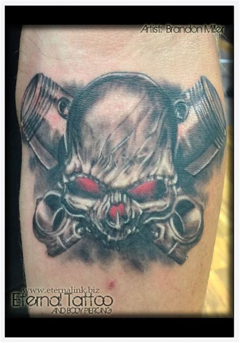 skull and piston tattoos skull and cross pistons artist brandon miller