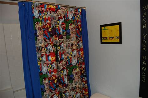 marvel comics curtains diy marvel comic fabric shower curtain bathrooms