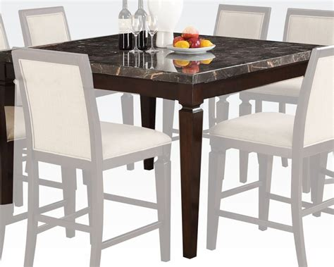 marble top bar height table black marble top counter height table agatha by acme ac72485