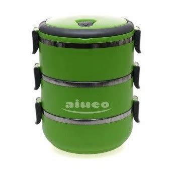 Rantang 3 Susun Eco Lunch Box Stainless Steel aiueo eco lunch box stainless steel rantang 3 susun
