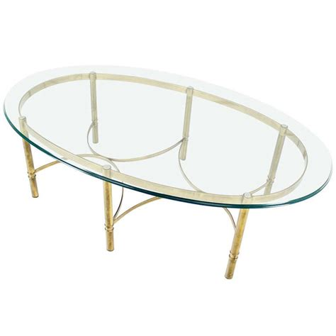 Mid Century Glass Coffee Table Brass And Glass Oval Mid Century Modern Coffee Table For Sale At 1stdibs
