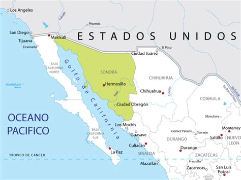 mapa de sonora mexico sonora